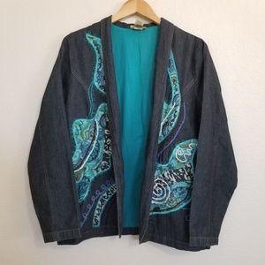 Youtopia Vintage Style Embellished Denim Jacket L